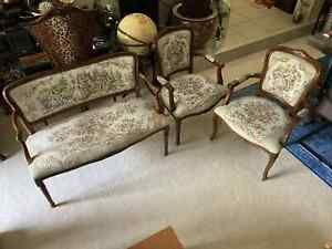 3 SET of Chairs Love Seat French Louis XV Floral Tapestry Chateau D'AX Italy