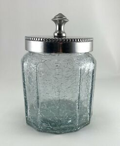 Jar Clear Crackle Glass Pewter Lid Vanity Dresser Storage Canister Bathroom 4.5""