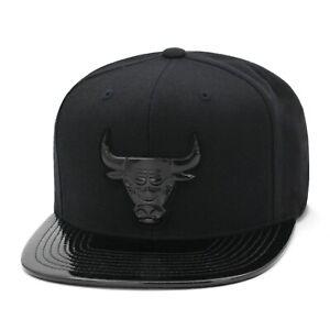 Mitchell & Ness Chicago Bulls Snapback Hat Cap Black/Black Patent Leather
