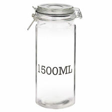Large Glass Storage Jar With AirTight Sealed Metal Clamp Lid Tall Kitchen Cookie