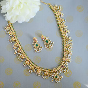 South Indian Kundan Pearl Gold Plated Long Necklace Bollywood Bridal Jewelry Set