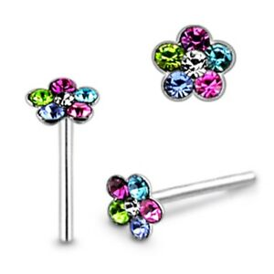 10 Pcs 22G 9mm 925 Sterling Silver 4mm Multi Stones Jeweled Flower Nose Straight