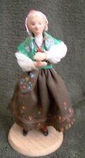 Swedish Norrbotten Wooden vintage folk costume girl Doll Dockan Sweden Norrbottn
