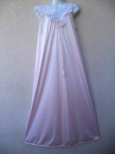 """Vintage Vanity Fair LONG NIGHTGOWN Silky Nylon Frilly Lace Nice Sweep 48"""" Bust"""
