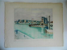 LA GARE CIRCULAIRE lithographie signée Alphonse QUIZET Fleuve Canal Quai 1949