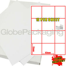 1000 Sheets Of Printer Address Labels - 12 Per Page