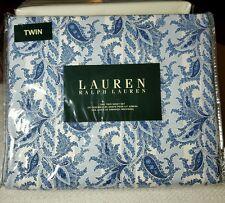 Lauren Ralph Lauren Indigo Damask Paisley Blue Twin Sheet Set Striped NWT