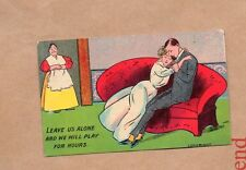 Romantic Humour postcard Leave us alone and we'll Play for Hours posted 1908 b2