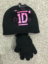 Girls Hat-gloves Set 8-12 Years Black One Direction Hat Gloves Set