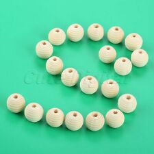 20Pcs 20mm Round Natural Beehive Wood Bead Baby Teether Wooden Teething Beads