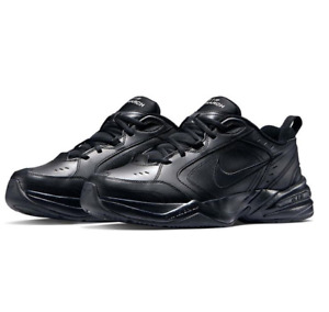 Nike Mens Trainers Nike Air Monarch Black Leather Sports Running Wide Trainers
