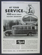1932 Mack Model BG School Bus Indian Lake Central School photo vintage print Ad