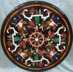 """Handcrafted Marble Inlay Coffee Table Top Parrot Pattern Corner Table 24 x 24"""""""
