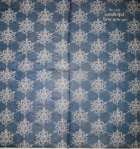 4 x PAPER NAPKINs BLUE with WHITE SNOW FLAKES for TABLE, DECOUPAGE & CRAFTS