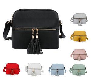 New Women Small Double Section Tassel Crossbody Messenger Bag Shoulder Handbag