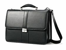 Samsonite Leather Flap over Briefcase Business Case Messenger Laptop Bag NEW