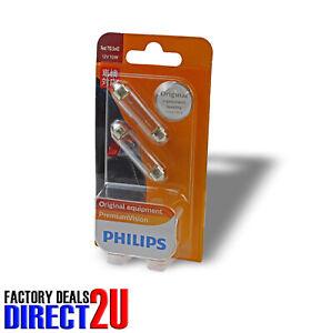 Genuine PHILIPS Premium Vision Festoon Light Globe T10 12V 10W 5x43mm - 2 Pack