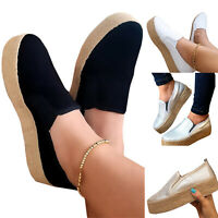 Womens Ladies Plain Slip On Flatform Loafers Flat Casual Pumps Espadrilles Shoes