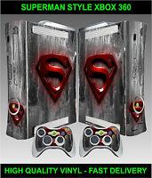 Xbox 360 Console Sticker Skin Super Man Logo Style & 2 X Controller Skins