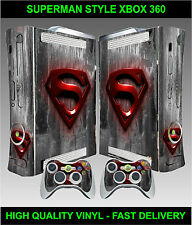 Xbox 360 Console Sticker Skin Super Man Logo Style & 2 X Controller Skins