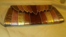Chinese Laundry Leather Clutch Purse Snap Closure Metallics & Browns w/ Keychain