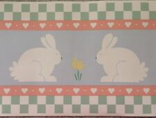 """Country Bunny Wall Border Wallpaper Blue Pink Green Yell Pastel 6 3/4"""" X 180"""""""