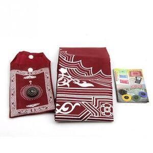 Portable Pockets Muslim Prayer Rug Mat Blanket with Pouch New in Hot F8K2