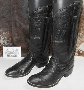 M.L. Leddy Boots 8 1/2B Black custom full quill ostrich western cowgirl cowboy