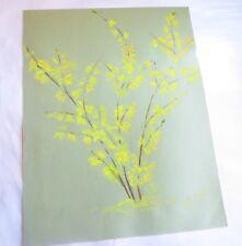 ROSE MARIE DE WOUTERS – aquarelle – arbuste jaune sur bristol vert – fleurs offe