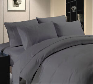 Duvet Set + Fitted Sheet Gray Solid All Sizes 1000 Thread Count Egyptian Cotton
