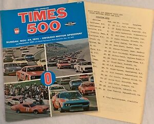 1974 INAUGURAL Los Angeles Times 500 Ontario Speedway Program with Extras
