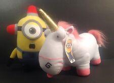 "Lot Of 2 Despicable Me Plush Unicorn And Fireman Characters Stuffed Animal 9-12"""