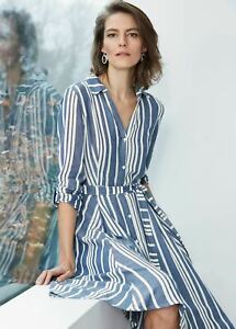 Phase Eight Willa Stripe Dress Navy/Ivory Size UK16 RRP89