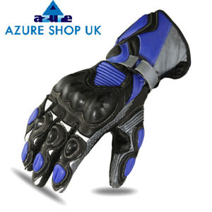 Leather Motorcycle Gloves Motorbike Blue Black Knuckle Armour Biker Protection