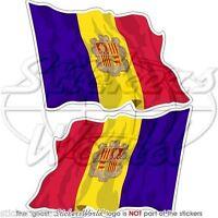 """ANDORRA La Vella Andorran Waving Flag Vinyl Bumper Decal Sticker 4,7"""" (120mm) x2"""