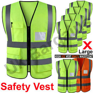 Hi Vis Safety Vest High Visibility Waistcoat With Phone/ID Pockets Orange Yellow