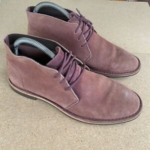 Cole Haan Mens Suede Leather Boot Coral Color Size 10.5 M