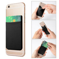Elastic Self-Adhesive Mobile Phone Wallet Case Stick On Credit ID Card Holders ~