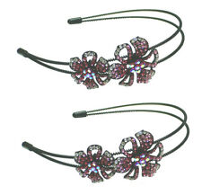 Set of 2 Crystal Flower Headbands Resilient Metal Wire Hair bands U0056-2