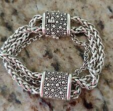 "Michael Dawkins Sterling Silver Starry Night Square Station Bracelet  6 3/4"""
