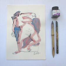 Zeichnung Akt Max Müller Kunstakademie Düsseldorf Tusche Unikat Papier