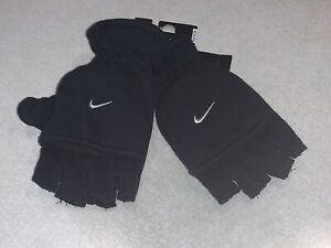 Nike Convertible Fingerless Gloves Mittens Youth Size 8/20 Black NWT