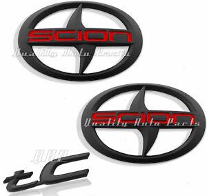 3 - Pieces NEW SCION TC Front Rear MATTE Black Badge Emblem 2011-2016 tC F/R MBR