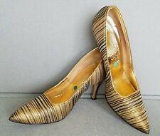 True Vtg Women'S Size 6 Metallic Gold Stripe Brocade Heels 1960s Pointy Toe Sexy