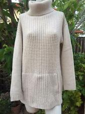 TALBOTS 100% CASHMERE BASKET WEAVE TURTLENECK TUNIC SWEATER KANGAROO POCKETS M