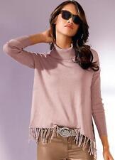 Patrizia Dini Turtleneck Fringe Detail Jumper Size 8 Uk NEW RRP £45 Rose