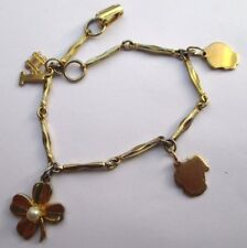 bracelet bijou vintage maillons gravé rhodié or fin  pampille perle fine 2415