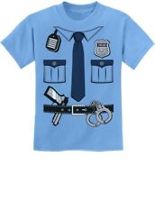 Police Cop Uniform Halloween Costume Policeman Outfit Suit Youth Kids T-Shirt S