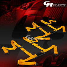 """2 X 4-POINT 2"""" NYLON STRAP DRIFT RACING SAFETY BUCKLE HARNESS SEAT BELTS GOLD"""