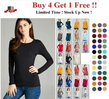 WOMENS CREW NECK LONG SLEEVE BASIC TOP COTTON STRETCH SLIM FITTED T SHIRT S-3X